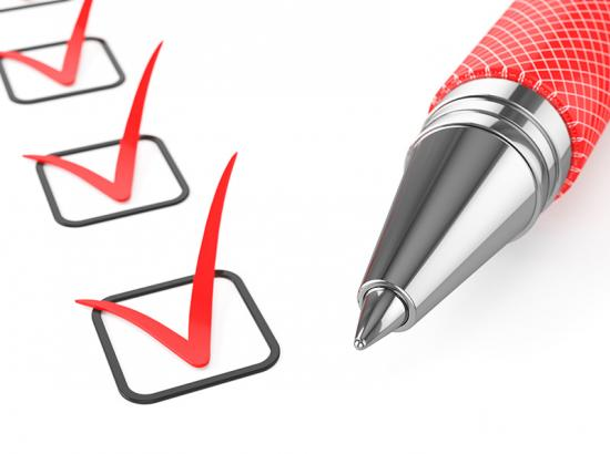 Red pen on a checklist with red ticks in all of the boxes.